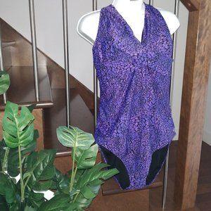 👙Speedo Wrap X-Back One Piece Swimsuit Purple